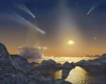 Dopad komety (ilustrace)