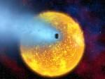 Exoplaneta HD 209458b v představách malíře