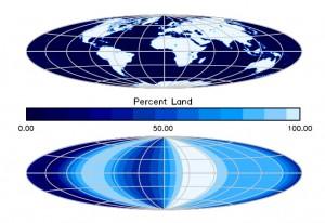Nahoře je skutečná mapa Země, dole pak mapa založena na pozorováních sondy Deep Impact. Za 10 až 15 let bychom mohli mít podobné mapy planet u cizích hvězd.