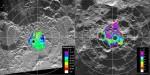 Mapa Měsíčních pólů sestavena na základě měření sondy Clementine.