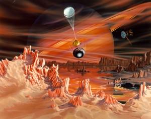 Umělecká představa povrchu Titanu a přistání sondy Huygens