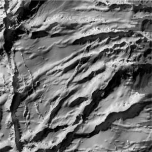 Pohled na trhliny v jižních částech měsíce  infračerveným spektrografem CIRS.