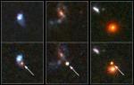 Vzdálené supernovy na snímcích z Hubblova dalekohledu. Přestože září více než zbytek mateřské galaxie, je to stále méně, než předpokládají výpočty.