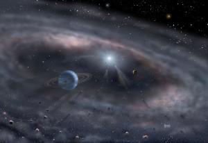 Protoplanetární disk v představách malíře.