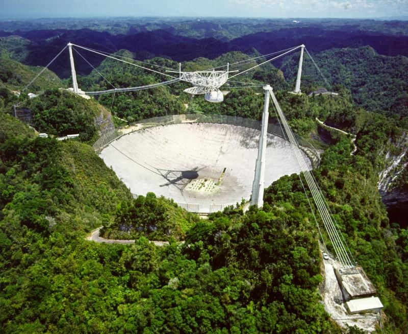 Slavný radioteleskop Arecibo o průměru 305 m. Proslavil se mimo jiné jako objevitel první exoplanety u pulsaru.