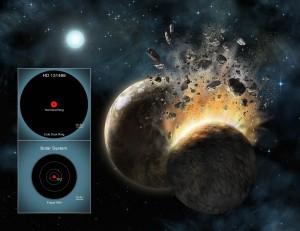 Srážka planet v představách malíře a srovnání Sluneční soustavy a prachových disků u hvězdy HD 131488.
