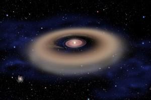 Kresba: mezera v protoplanetárním disku značí přítomnost exoplanety