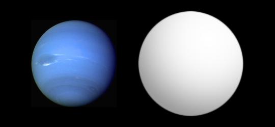 Srovnání velikosti Neptunu (vlevo) a exoplanety GJ 436 b. Zdroj: Wikipedie
