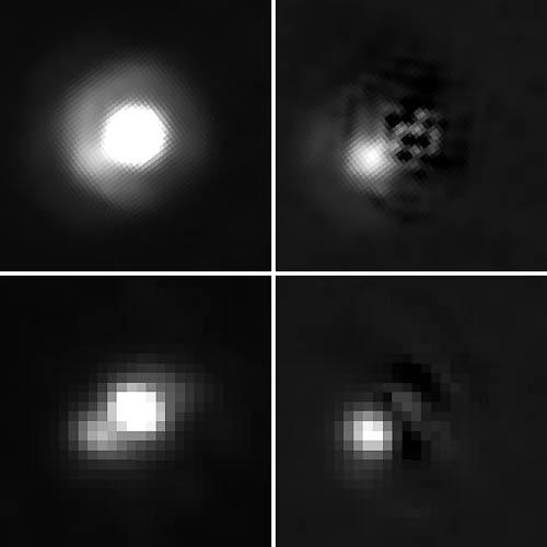 Hnědý trpaslík 2M J044144 a jeho planetární společník v pozici na 8 hodinách. Horní snímky pořídil Hubblův dalekohled, spodní teleskop Gemini. Autoři: NASA, ESA. K. Todorov a K. Luhman (Pennsylvania State).