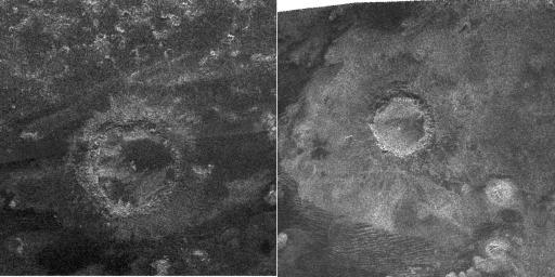 Kráter objevený v roce 2008 (vlevo) a kráter, objevený v roce 2005 (vpravo) na radarových snímcích ze sondy Cassini. Autor: JPL, NASA