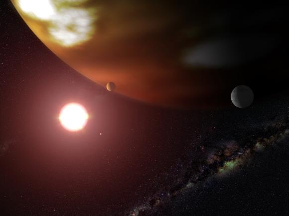 Planetární soustava u červeného trpaslíka Gliese 876 v představách malíře. Credit: NASA/G. Bacon (STScI)