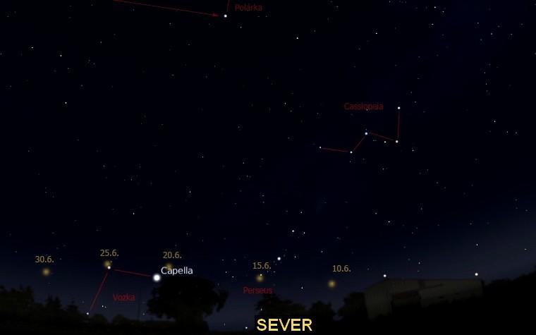 Poloha komety C/2009 R1 (McNaught) nad severním obzorem od 10. 6. do 30. 6. 2010. Mapka je vytvořena pomocí programu Stellarium.