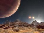 Východ místních sluncí na hypotetickém měsíci hypotetické exoplanety.