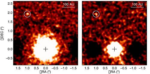 Exoplaneta na novém snímku z přístroje Near-Infrared Imager (NIRI), který je instalován na dalekohledu Gemini. Credit: Gemini Observatory/AURA/David Lafrenière (University of Montreal),Ray Jayawardhana (University of Toronto), and Marten van Kerkwijk (University of Toronto)