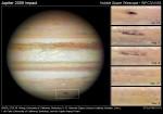 Dopad planetky do atmosféry Jupiteru v létě 2009 na snímcích z Hubblova dalekohledu. Credit: NASA, ESA, M. H. Wong (University of California, Berkeley), H. B. Hammel (Space Science Institute, Boulder, Colo.), I. de Pater (University of California, Berkeley) a Jupiter Impact Team