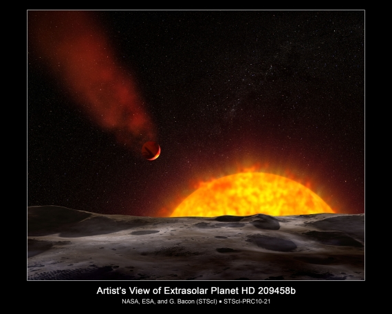 Exoplaneta HD 209458 b v představách malíře.
