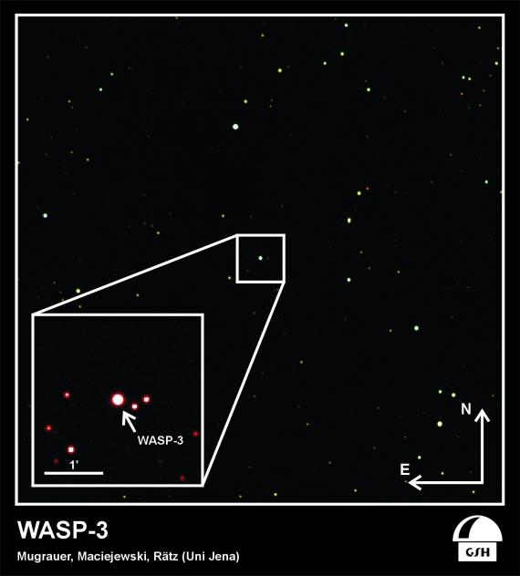 Snímek hvězdy WASP-3 v souhvězdí Lyry.
