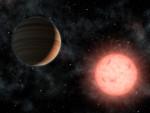 Horký Jupiter a jeho mateřská hvězda v představách malíře. Credit: NASA/JPL-Caltech