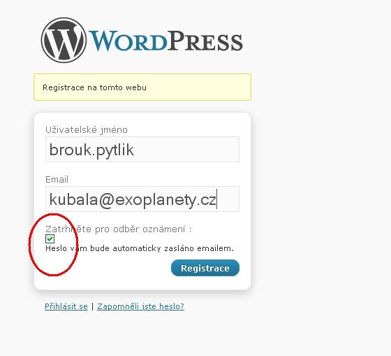 Registrační formulář. Automaticky je nastaveno zasílání upozornění na vydání nového článku.