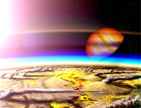 Jupiterův měsíc Io se proslavil svou vulkanickou činností. Credit: Wade Henning