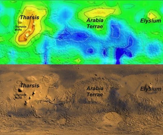 Mapa výskytu metanu v atmosféře Marsu během podzimu na severní polokouli. Credit: NASA/Università del Salento