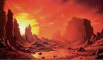 Povrch exoplanety Gliese 581 g v představách malíře. Autor: David Hardy