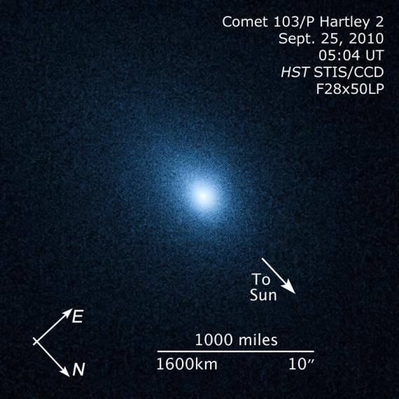 103/P Hartley 2 na snímku z Hubblova dalekohledu. Credit: NASA, ESA, and Z. Levay (STScI)
