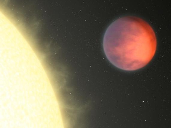 """Exoplaneta ups And b v představách malíře. Nejteplejší místo (""""horká skvrna"""") se podle pozorování kosmického dalekohledu Spitzer nachází na nečekaném místě. Credit: NASA/JPL-Caltech."""