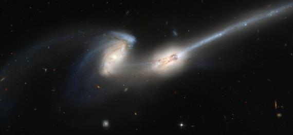 Galaktický kanibalismus pozorují astronomové u jiných galaxií běžně. Na snímku z Hubblova dalekohledu vidíme galaxii NGC 4676, kterou nalezneme 300 milionů světelných let daleko v souhvězdí Vlasy Beraniky.