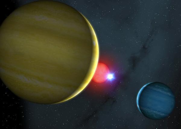 Planetární systém u dvojhvězdy NN Ser v představách malíře. Credit: Mark A. Garlick, University of Warwick