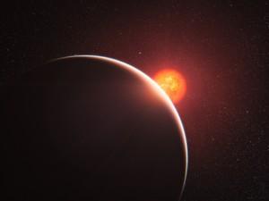Exoplaneta GJ 1214 b v představách malíře. Credit: ESO
