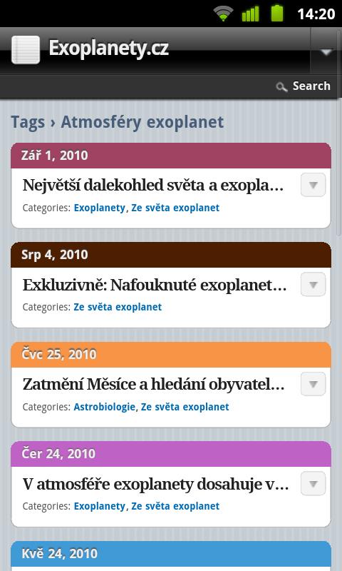 Exoplanety.cz v Androidu. Foto: T. Kromsa