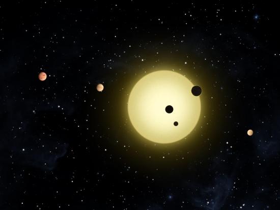 Planetární systém u hvězdy Kepler-11 v představách malíře.