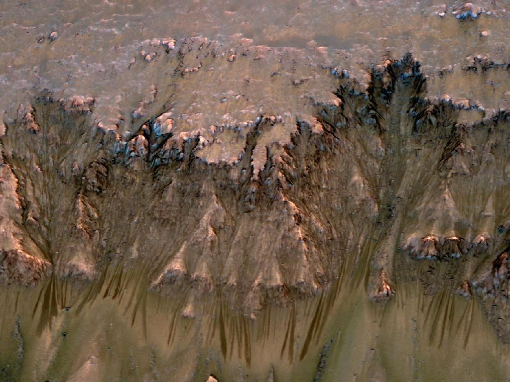 Tmavé anomálie zřejmě způsobené tekoucí slanou vodu na svahu kráteru Newton. Jejich šířka se pohybuje od 0,5 do 5 metrů. Credit: NASA