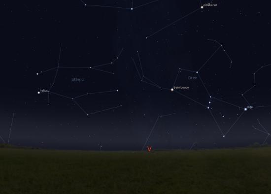 Vyhledávací mapka zachycuje oblohu počátkem ledna kolem 18. hodiny (pohled směrem na východ). Jako orientační výchozí bod lze využít nepřehlédnutelné souhvězdí Orion. Zdroj: Stellarium