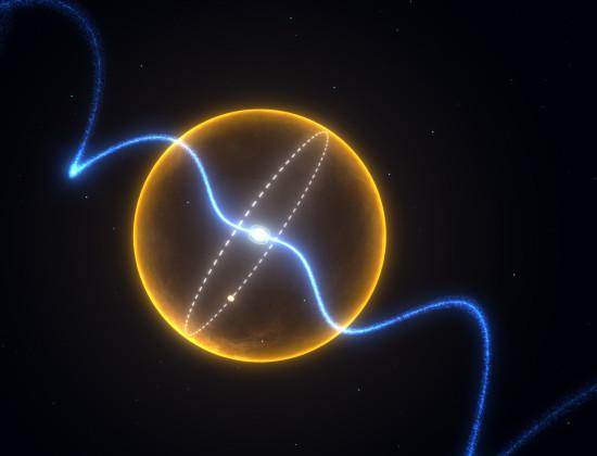 Schéma systému PSR J1719-1438. Oběžná dráha planety je znázorněna bílou čárkovanou čárou. Pro srovnání je na obrázku velikost našeho Slunce (žlutě). Credit: Swinburne Astronomy Productions, Swinburne University of Technology