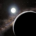 Možná exoplaneta Kepler-19 c, která byla patrně objevena díky časování tranzitů, v představách malíře. Credit: Harvard-Smithsonian Center for Astrophysics