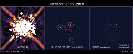 Planetární systém HR 8799 na snímku z Hubblova dalekohledu. Credit: NASA, ESA, and R. Soummer (STScI)