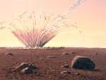 Umělecká představa dopadu meteoroidu na Mars. (Autor obrázku William K. Hartmann, spoluzakladatel Planetary Science Institute, Tucson, Ariz.)