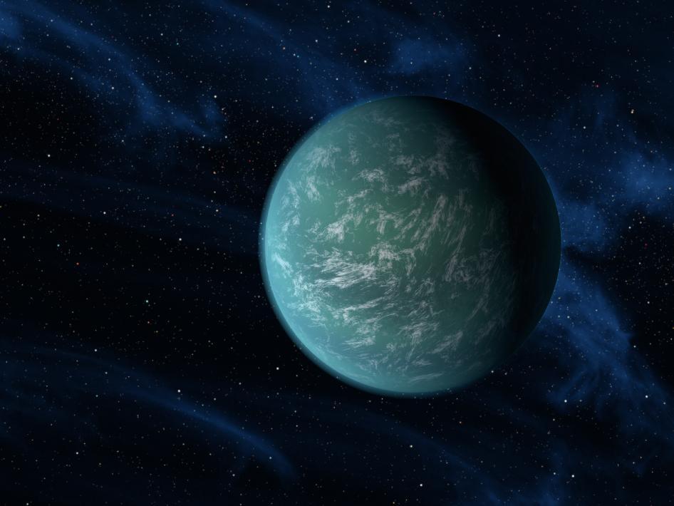 Exoplaneta Kepler-22 b v představách malíře. Credit: NASA/Ames/JPL-Caltech