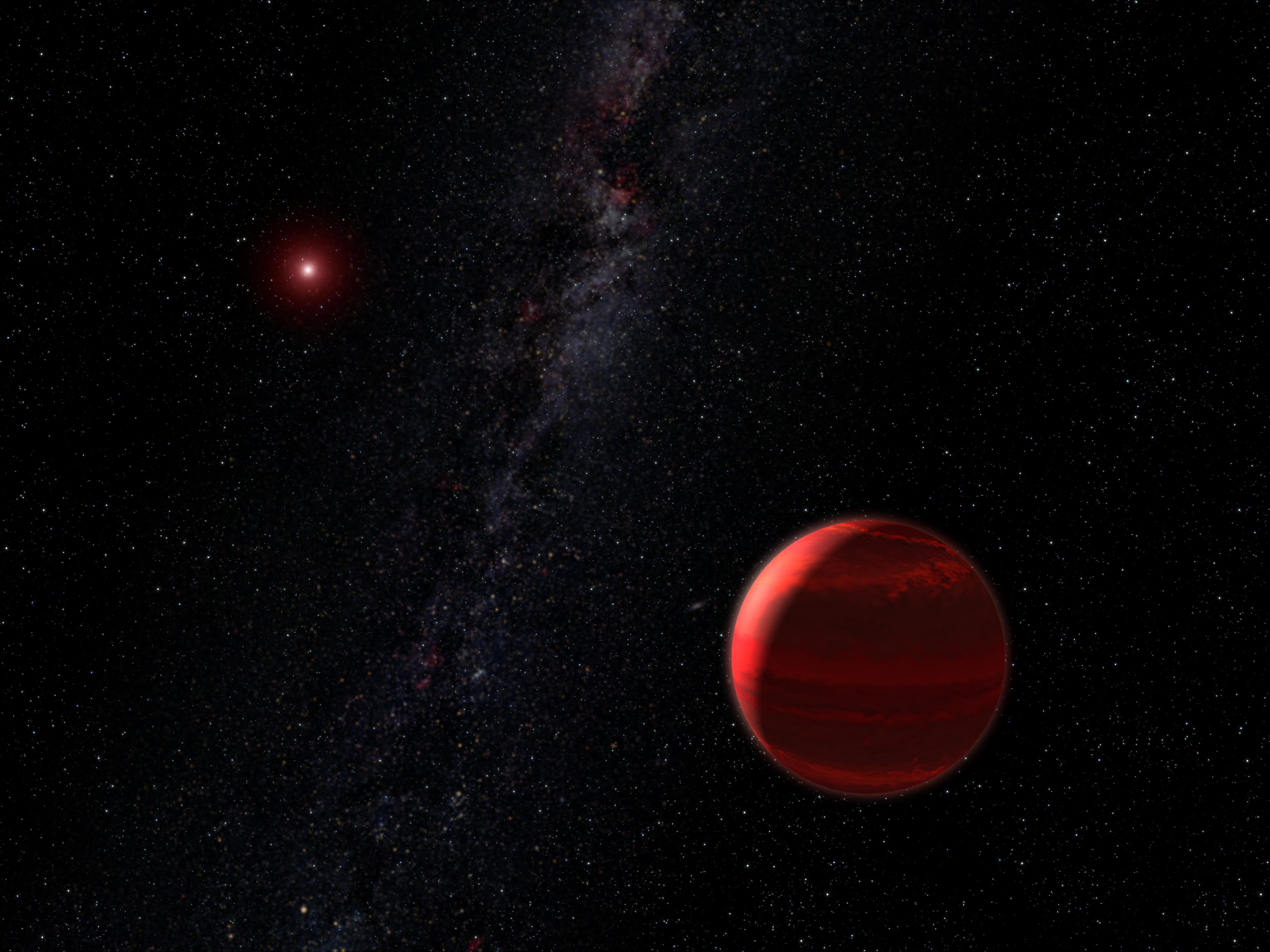 Exoplanety u červeného trpaslíka v představách malíře. Credit: NASA, ESA and G. Bacon (STScI)