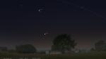 Venuše, Plejády a Jupiter dnes kolem 20:30 nad západním obzorem. Zdroj: Stellarium