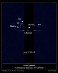 Všechny měsíce Pluta na jednom snímku v červnu 2012. Credit: NASA; ESA; M. Showalter, SETI Institute