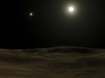Kresba: pohled na oblohu z hypotetické planety u Alfa Centauri A. Zdroj: Wikipedia