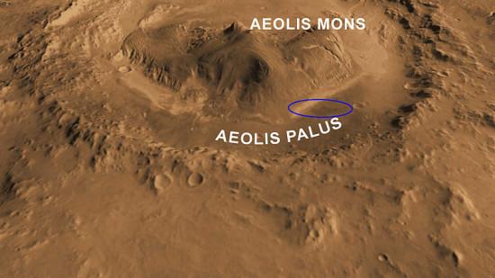 3D model kráteru Gale s horou Aeolis Mons, elipsa představuje místo přistání Curiosity. Přesné místo je nedaleko středu elipsy. Credit: NASA