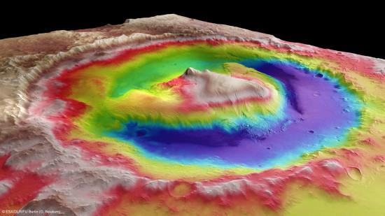 3D model kráteru Gale. Credit: ESA, G. Neukum