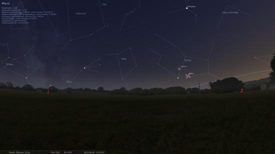 Pohled na jihozápadní obzor 6. srpna ve 21:30 našeho času. Zdroj: Stellarium
