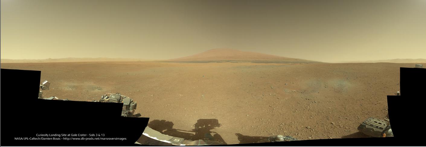 Náhled panorama z Curiosity. Originální velikost stahujte v tomto odkaze. Credit: NASA / JPL / MSSS / Damien Bouic / Emily Lakdawalla