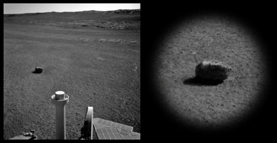 Meteorit na snímku z Opportunity? Credit: NASA