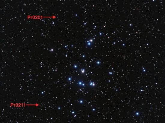 Hvězdy Pr0201 a Pr0211. Credit: Stuart Heggie